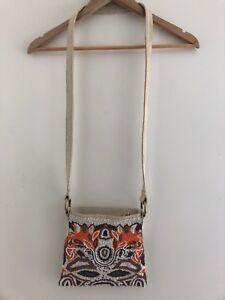 Zoe Wittner Beaded Satchel Bag 100% Cotton Women's