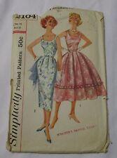 Vintage Simplicity 1950's Pattern 2104 Misses' Dress 2 Skirts Size 14 Bust 34 FF