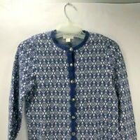 Christopher & Banks Button Up Blue White Nordic Shoulder Pad Cardigan Sweater S