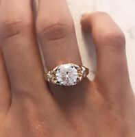 2Ct Near White Round Moissanite Engagement Ring 14k Gold Estate Antique Size 4.5