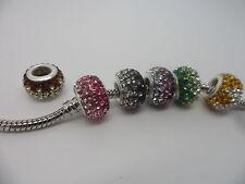 925 Silver core~Big Hole Charm Bead~12mm~ crystal Bead~Charm~European bracelet