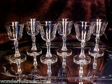 6 Wine Cordial Glasses GAME BIRDS Grouse, Canvasback, Canadian Goose SILVER RIMS