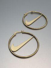 Gold Nike Hoop Earrings | Stainless Steel Tick Swoosh Check Inspired | Xmas gift