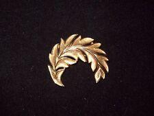 Vintage Gold Tone Signed Crown Trifari Leaf Design Brooch