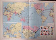 The World - Air Routes Map, 1952, Mercantile Marine Atlas, Philip