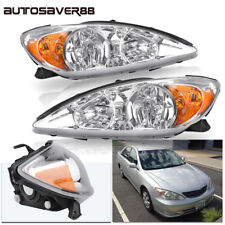 for 2002-2004 Toyota Camry Crystal Chrome Headlights Headlamps w/Amber Reflector