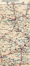 Hamm Rheda Lippstadt 1938 kl orig Teil-Autokarte Reichsautobahn Beckum Gütersloh