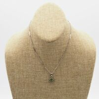 "Vintage Silver Tone 15.5"" Fashion Chain Necklace With Jade Green Stone Pendant"