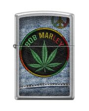 Zippo 7306 Bob Marley Marijuana Leaf Peace Sign Street Chrome Finish Lighter