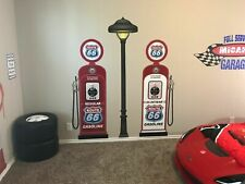 CUSTOM ROUTE 66 GAS PUMPS AND LIGHT POLE SET PRINTED ADHESIVE VINYL DECAL