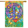 "Peace Floral House Flag Primitive Everday 28"" x 40"" Briarwood Lane"