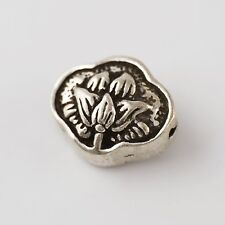 1x 925 Sterling Silver Vintage Double Sides Lotus Yoga Spacer Bead Charm A2142