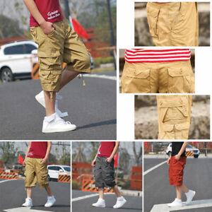 New Mens Summer Engineer 3/4 Cargo Pants Below Knee Army Combat Long Shorts Grey