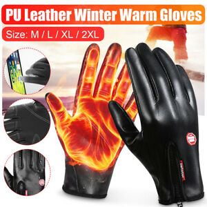 2PC Winter Warm Gloves Black Touch Screen Windproof Waterproof Outdoor Ski   ~