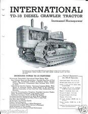 Equipment Brochure - IH - International - TD-18 - Crawler Tractor c1950's (E2185