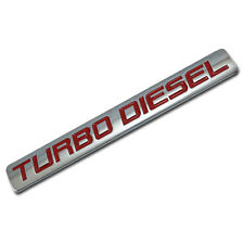 CHROME/RED METAL TURBO DIESEL ENGINE RACE MOTOR SWAP BADGE FOR TRUNK HOOD DOOR