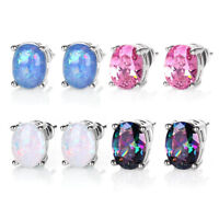 Women Classic Stud Earrings Luxurious Earring Oval Opal Inlaid Exquisite Jewelry