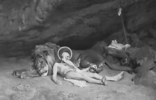 SAINT JEROME Resting with Lion in Cave - Superb GEROME Antique Print