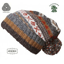 Pachamama HAND MADE 100% LANA FINISTERRE Grigio Inverno Baggy Beanie Cappello