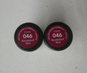 2 tube lot Revlon Super Lustrous Lipstick CREME 046 BOMBSHELL RED sealed