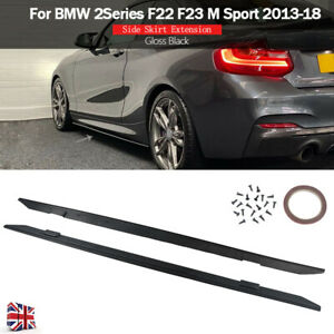 Gloss Black Side Skirt Extension For BMW 2 Series F22 F23 M Performance 2013-18