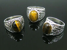 wholesale jewelry lots 5pcs women's Tigers eye silver plated rings free shipping