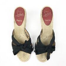11869f13b6f CHRISTIAN LOUBOUTIN Size 37 TIBURON Black Satin Espadrilles Slide Wedge  Sandals
