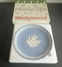 Boxed Wedgwood Blue Jasperware 1990 Christmas plate - skating