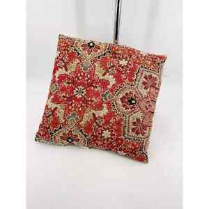 """Pier 1 One Kilim Woven Pillow 18"""" Square Rug Piece Red Brown Black Cream"""
