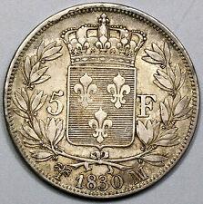 1830-Ma France Scarce Marseille Mint Charles X Silver 5 francs Coin (17040422R)