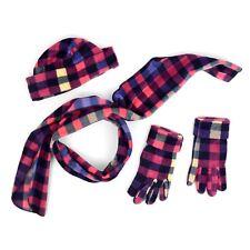 Pink Multi Color Checker Plaid 3 Piece Fleece Hat, Scarf & Glove Set(WNTSET8010)