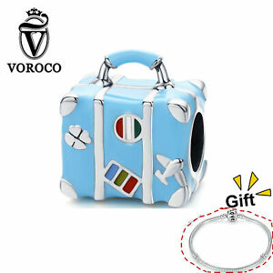 925 Sterling Silver Charms Beads Suitcase Blue Pendant Fit Bracelet Chain VOROCO