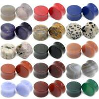 PAIR Natural Saddle Stone Ear Gauges Double Flared Ear Plugs Piercing 6mm-16mm