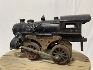 SCARCE 1900s IVES EARLY ANTIQUE CAST IRON TOY RR LOCOMOTIVE # 1100 (2E)