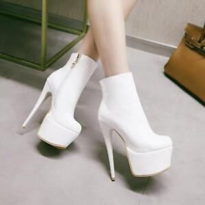 Women Boots Patent Leather Super High Stiletto Heels Platform Booties Nightclub