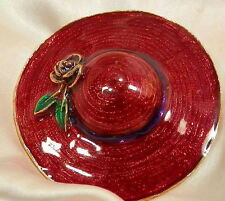 Xx Large Vintage 1980's Enamel Red Hat Brooch Very Pretty 56F6