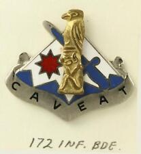 Vintage US MILITARY Insignia Pin DUI Crest Badge 172nd Infantry Brigade CAVEAT