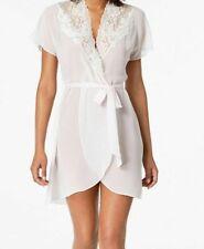Linea Donatella Juliet Lace-Trim V-Neck Chiffon Wrap Robe Ivory Size S M NEW $55