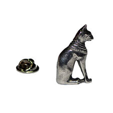 Egyptian Style Cat Pewter LAPEL PIN Club Group Hat Cap Badge Birthday Present