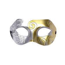 Mens Roman Warrior Two Tone Masquerade Ball Prom Halloween Mask. Silver / Gold
