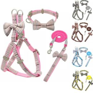 Small Dog Cat Harness collar and Walking Lead Set Pet Puppy checkered S M bow