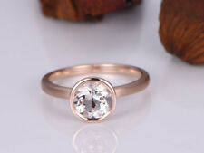 Bezel Set Ct Round Pink Solitaire Morganite Engagement Ring Rose Gold Fns Silver