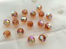 24 Swarovski #5000 8mm Crystal Topaz AB Faceted Round Beads