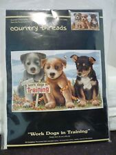 COUNTRY THREADS COUNTED CROSS STITCH WORK DOGS IN TRAINING SIZE 30 X 36 CM NEW
