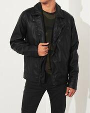 Hollister Leather Jacket (Abercrombie) - Faux Leather - Medium (M)- Black