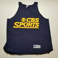 New listing Vtg Cbs Sports Mens Tank Top sz L Russell Jersey Shirt Blue Sleeveless 90s G98