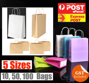 BULK CRAFT PAPER GIFT CARRY BAGS SMALL MEDIUM LARGE WITH PAPER HANDLES
