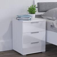 Vicco table de nuit blanc brillant table de chevet meuble de chevet 3 tiroirs