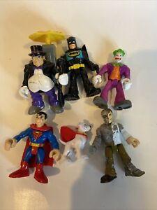 Imaginext DC Friends Batman Joker Penguin Superman Krypto Metallo Figure Lot