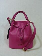 NWT FURLA GLOSS Pink Leather Mini Brooklyn Bucket Tote Bag $298 - Made in Italy